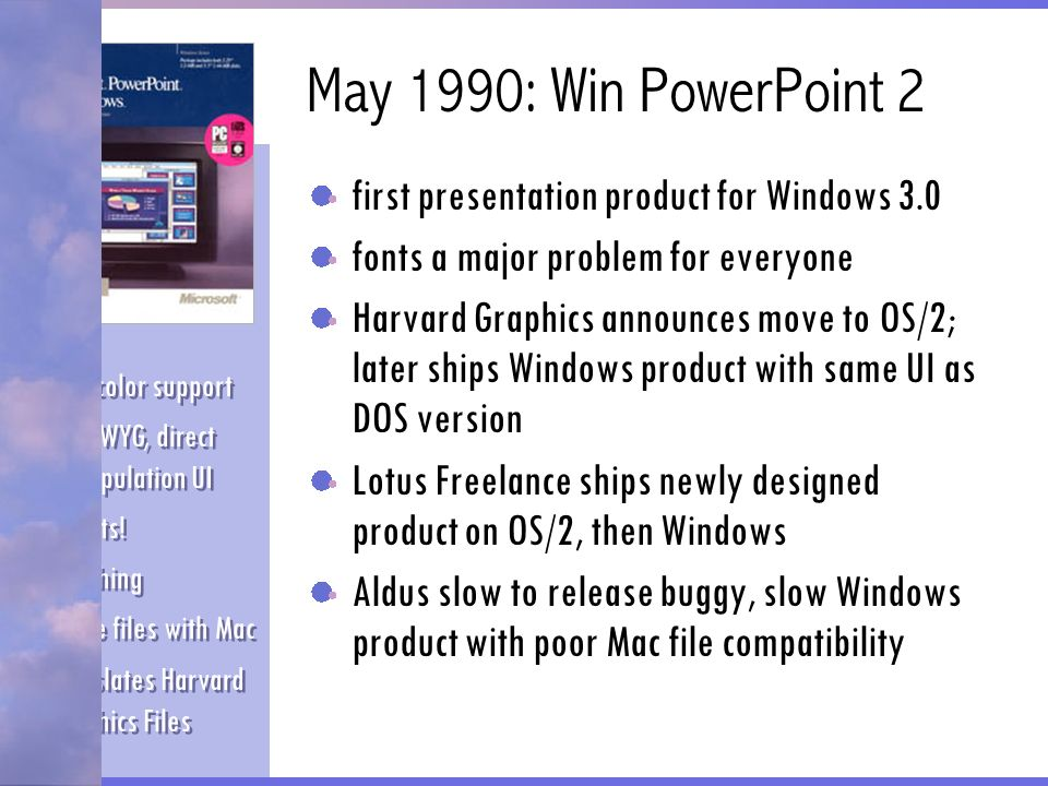 May 1990: Win PowerPoint 2 first presentation product for Windows 3.0 fonts a major problem for everyone Harvard Graphics announces move to OS/2; late