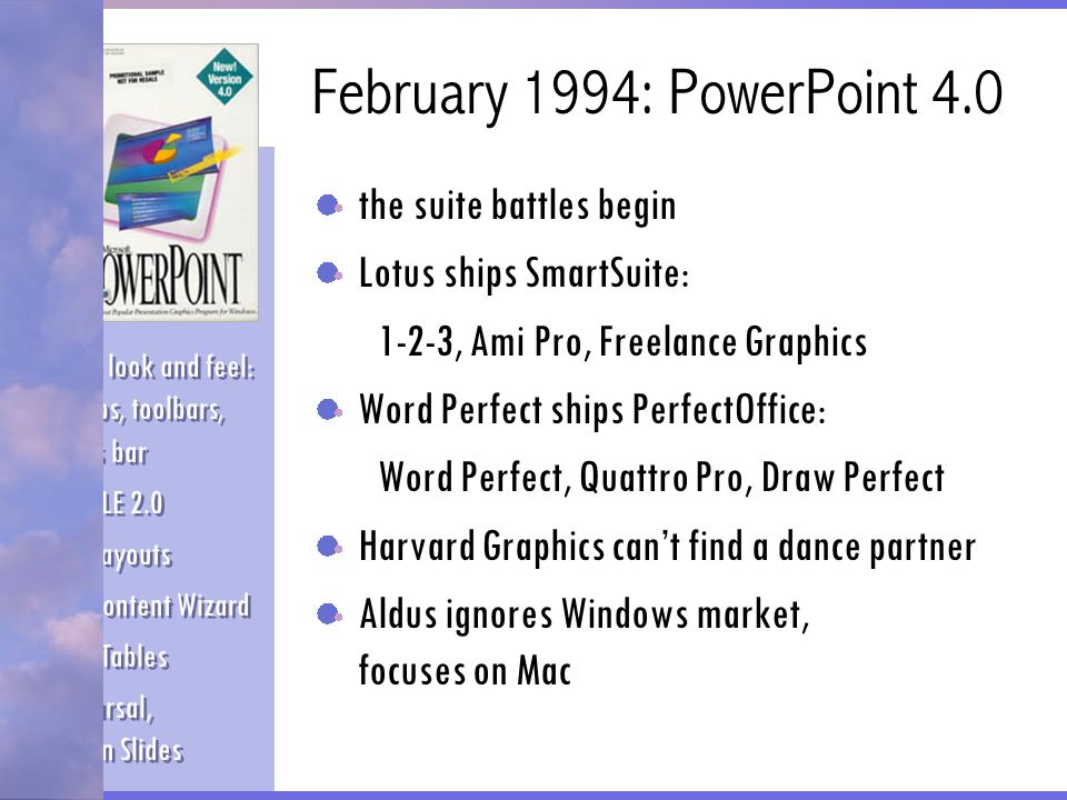 February 1994: PowerPoint 7 application version numbers go to hell Microsoft owns major market share on PCs and Macs due to phenomenal sales of Office Lotus bought by IBM who pretends not to notice WordPerfect bought by Novell Aldus acquired by Adobe and left to rot Harvard suffers slow agonizing death Rewritten in C++ VBA programmability Real curves, textures New animation effects Meeting minder AutoCorrect, Insert Symbol Black & White View Rewritten in C++ VBA programmability Real curves, textures New animation effects Meeting minder AutoCorrect, Insert Symbol Black & White View