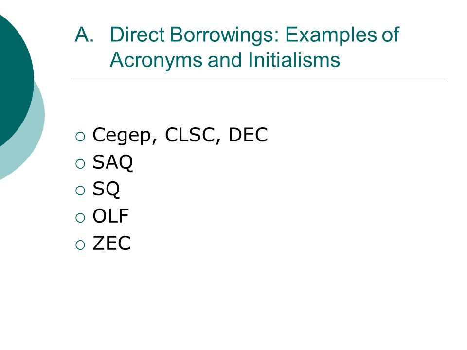 A.Direct Borrowings: Examples of Acronyms and Initialisms Cegep, CLSC, DEC SAQ SQ OLF ZEC