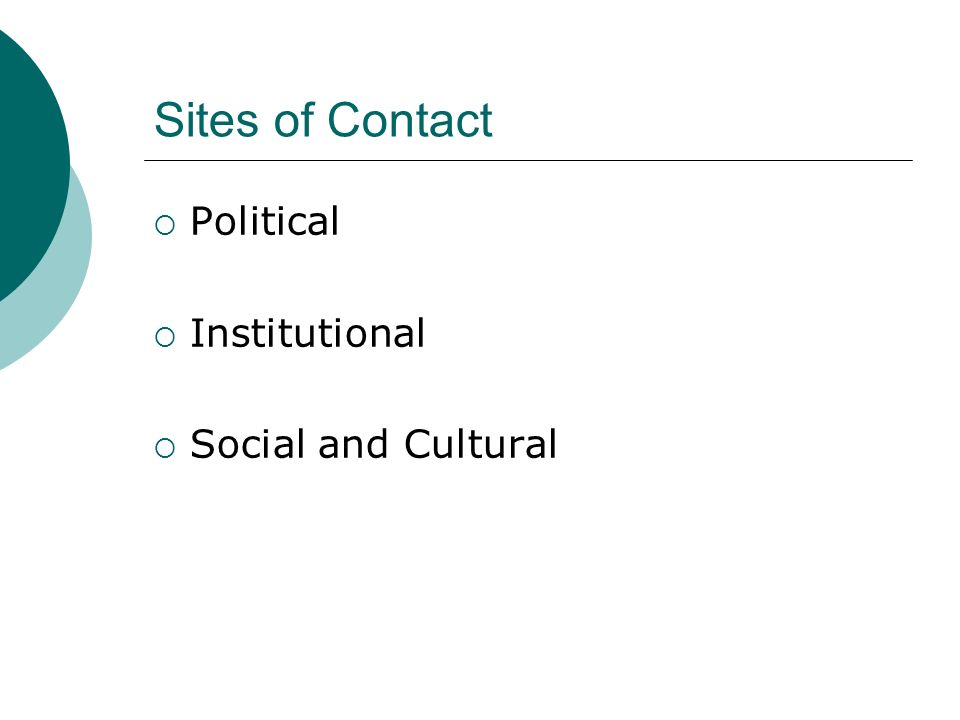 Sites of Contact Political Institutional Social and Cultural