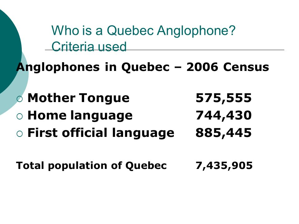 Who is a Quebec Anglophone? Criteria used Anglophones in Quebec – 2006 Census Mother Tongue 575,555 Home language 744,430 First official language 885,