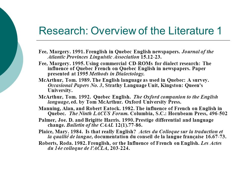 Research: Overview of the Literature 1 Fee, Margery. 1991. Frenglish in Quebec English newspapers. Journal of the Atlantic Provinces Linguistic Associ