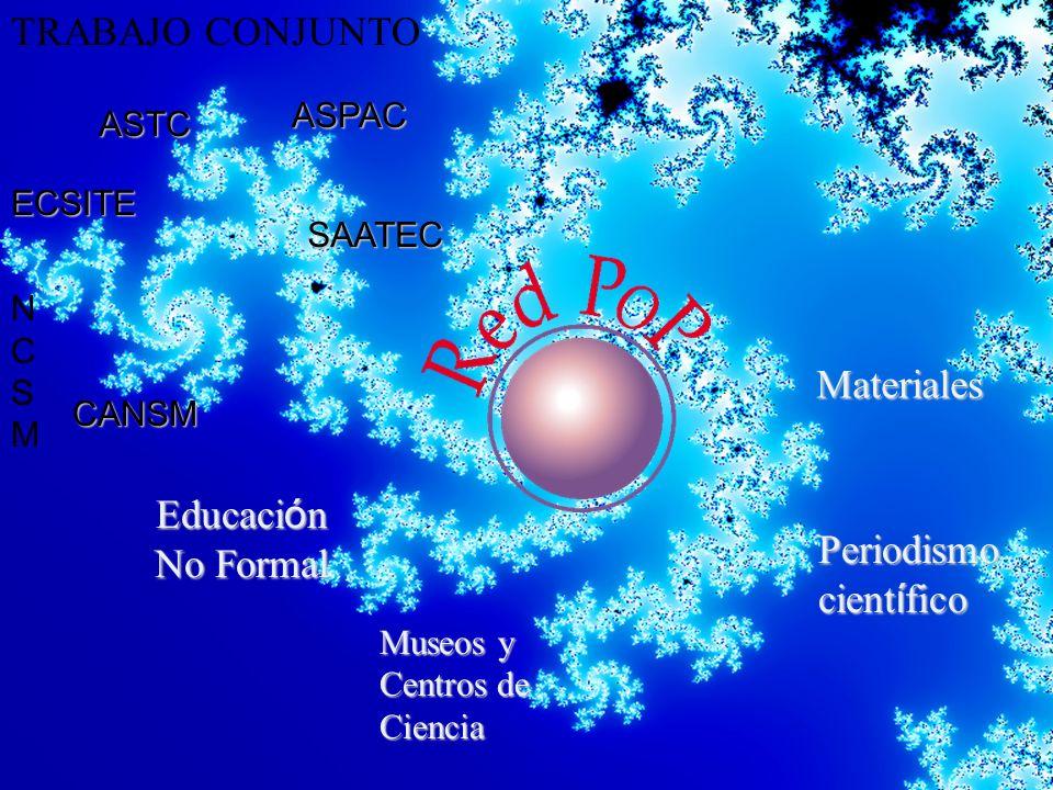 Educaci ó n No Formal Periodismo cient í fico Museos y Centros de Ciencia TRABAJO CONJUNTOMateriales ASTC ECSITE ASPAC SAATEC NCSMNCSM CANSM