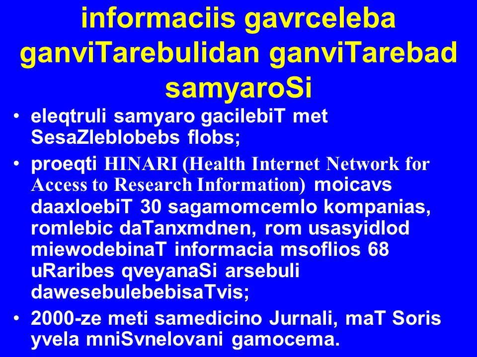 informaciis gavrceleba ganviTarebulidan ganviTarebad samyaroSi eleqtruli samyaro gacilebiT met SesaZleblobebs flobs; proeqti HINARI (Health Internet N