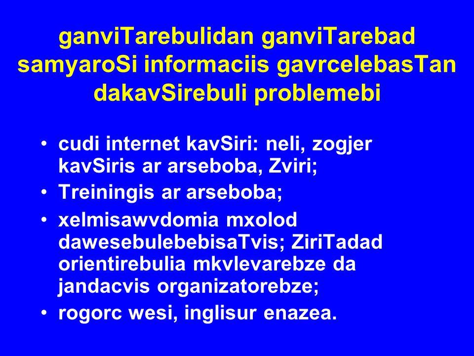 ganviTarebulidan ganviTarebad samyaroSi informaciis gavrcelebasTan dakavSirebuli problemebi cudi internet kavSiri: neli, zogjer kavSiris ar arseboba,
