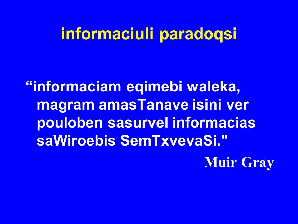 informaciuli paradoqsi informaciam eqimebi waleka, magram amasTanave isini ver pouloben sasurvel informacias saWiroebis SemTxvevaSi.