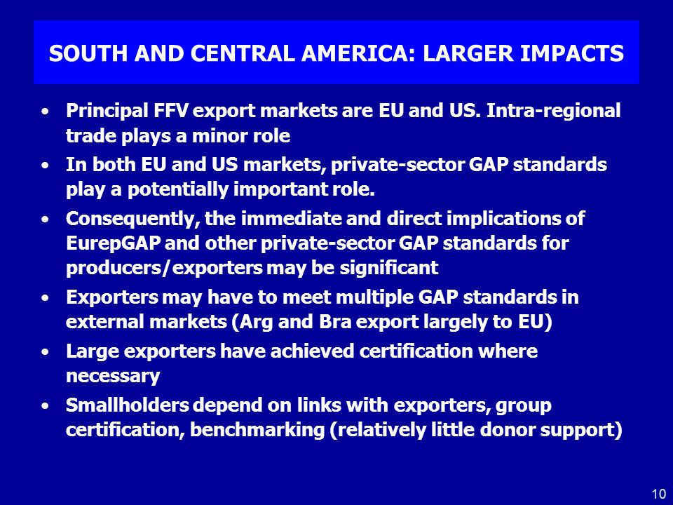 10 SOUTH AND CENTRAL AMERICA: LARGER IMPACTS Principal FFV export markets are EU and US. Intra-regional trade plays a minor role In both EU and US mar