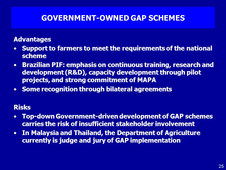 25 GOVERNMENT-OWNED GAP SCHEMES Advantages Support to farmers to meet the requirements of the national scheme Brazilian PIF: emphasis on continuous tr