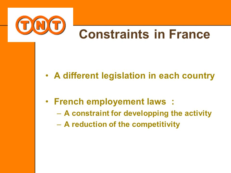 Constraints in France A different legislation in each country French employement laws : –A constraint for developping the activity –A reduction of the