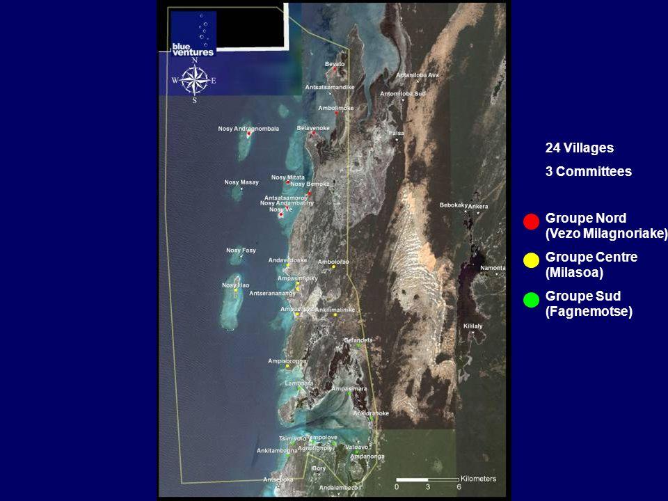 24 Villages 3 Committees Groupe Nord (Vezo Milagnoriake) Groupe Centre (Milasoa) Groupe Sud (Fagnemotse)