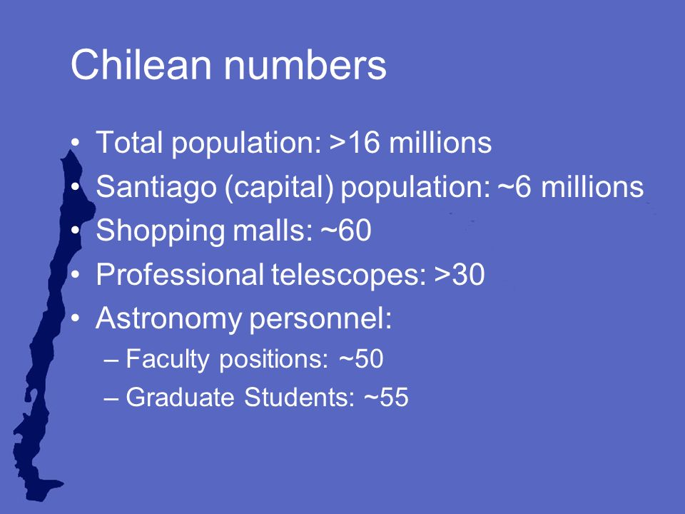 Chilean numbers Total population: >16 millions Santiago (capital) population: ~6 millions Shopping malls: ~60 Professional telescopes: >30 Astronomy personnel: –Faculty positions: ~50 –Graduate Students: ~55
