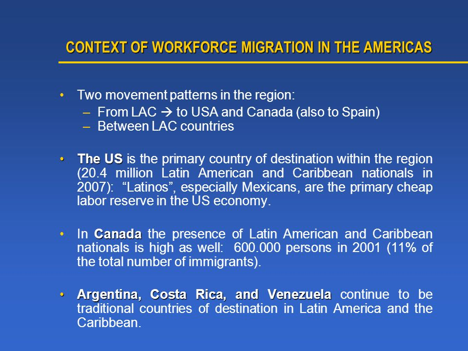CONTEXT OF WORKFORCE MIGRATION IN THE AMERICAS CONTEXT OF WORKFORCE MIGRATION IN THE AMERICAS Two movement patterns in the region: –From LAC to USA and Canada (also to Spain) –Between LAC countries The USThe US is the primary country of destination within the region (20.4 million Latin American and Caribbean nationals in 2007): Latinos, especially Mexicans, are the primary cheap labor reserve in the US economy.