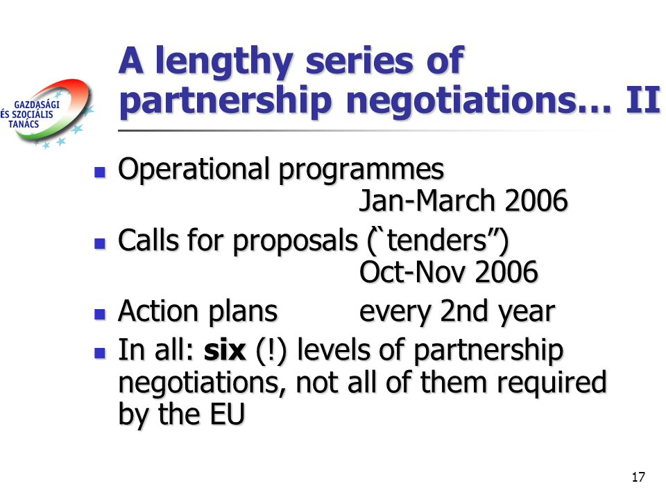 17 A lengthy series of partnership negotiations… II Operational programmes Jan-March 2006 Operational programmes Jan-March 2006 Calls for proposals (̏ tenders) Oct-Nov 2006 Calls for proposals (̏ tenders) Oct-Nov 2006 Action plansevery 2nd year Action plansevery 2nd year In all: six (!) levels of partnership negotiations, not all of them required by the EU In all: six (!) levels of partnership negotiations, not all of them required by the EU