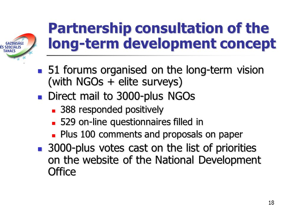 18 Partnership consultation of the long-term development concept 51 forums organised on the long-term vision (with NGOs + elite surveys) 51 forums organised on the long-term vision (with NGOs + elite surveys) Direct mail to 3000-plus NGOs Direct mail to 3000-plus NGOs 388 responded positively 388 responded positively 529 on-line questionnaires filled in 529 on-line questionnaires filled in Plus 100 comments and proposals on paper Plus 100 comments and proposals on paper 3000-plus votes cast on the list of priorities on the website of the National Development Office 3000-plus votes cast on the list of priorities on the website of the National Development Office