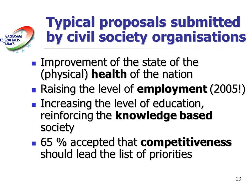 23 Typical proposals submitted by civil society organisations Improvement of the state of the (physical) health of the nation Improvement of the state of the (physical) health of the nation Raising the level of employment (2005!) Raising the level of employment (2005!) Increasing the level of education, reinforcing the knowledge based society Increasing the level of education, reinforcing the knowledge based society 65 % accepted that competitiveness should lead the list of priorities 65 % accepted that competitiveness should lead the list of priorities