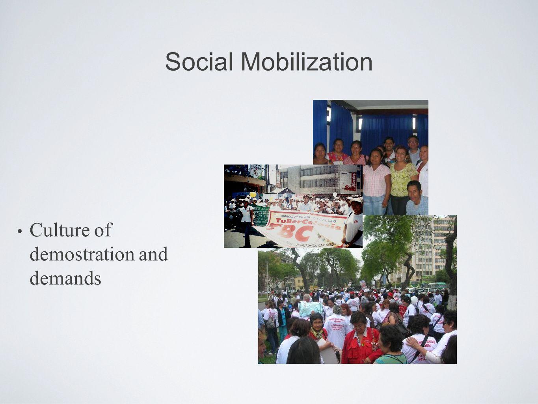 Social Mobilization Culture of demostration and demands