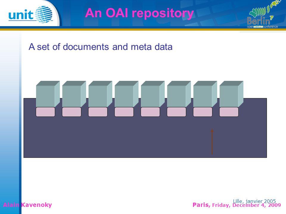 Lille, janvier 2005 Alain Kavenoky Paris, Friday, December 4, 2009 Lille, janvier 2005 A network of portals Meta data harvesting OAI-PMH protocol Queries Portal#1 Portal#2Portal#3 Harvesting portal