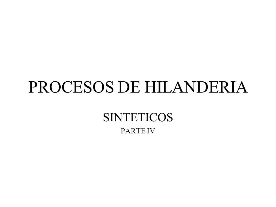 PROCESOS DE HILANDERIA Fibras sintéticas Filamentos continuos –Monofilamentos –Multifilamentos –Microfibras