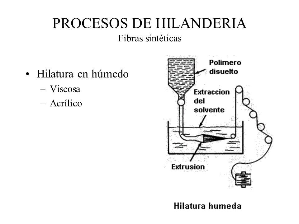 PROCESOS DE HILANDERIA Fibras sintéticas Hilatura en húmedo –Viscosa –Acrílico