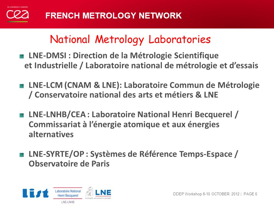 | PAGE 6 LNE-DMSI : Direction de la Métrologie Scientifique et Industrielle / Laboratoire national de métrologie et dessais LNE-LCM (CNAM & LNE): Labo
