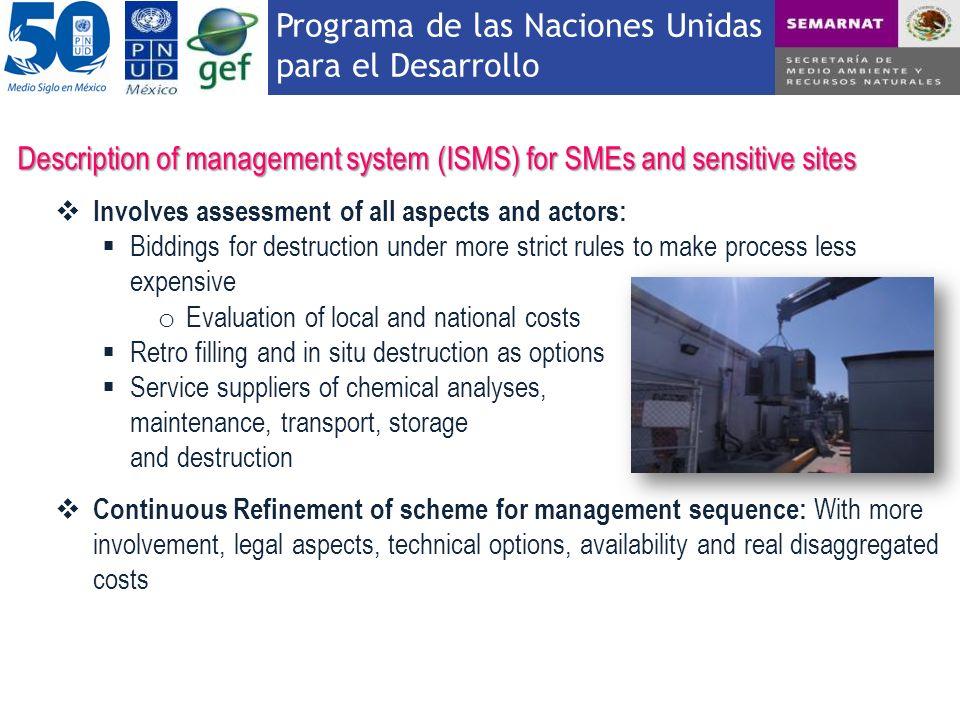 Programa de las Naciones Unidas para el Desarrollo Description of management system (ISMS) for SMEs and sensitive sites Involves assessment of all asp