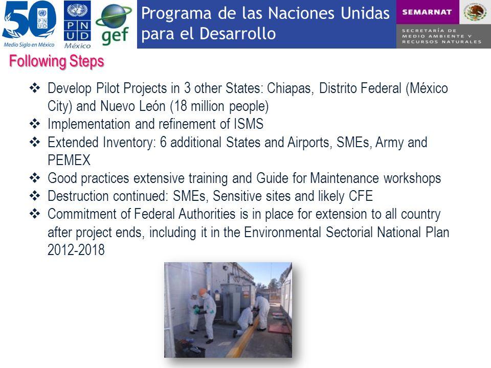 Programa de las Naciones Unidas para el Desarrollo Following Steps Develop Pilot Projects in 3 other States: Chiapas, Distrito Federal (México City) a