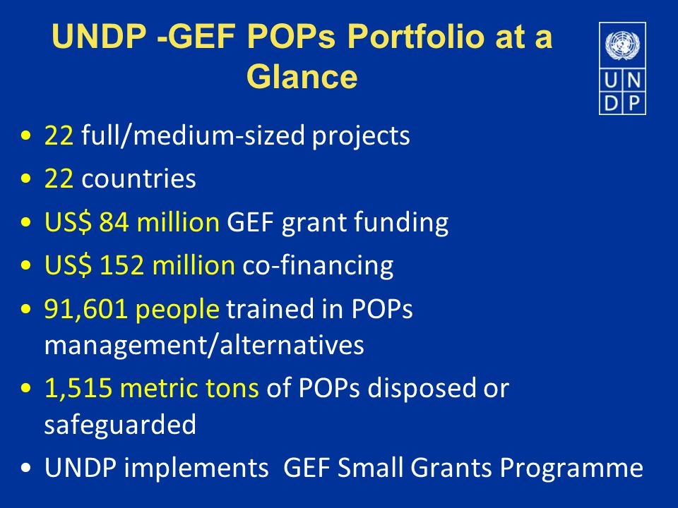 UNDP -GEF POPs Portfolio at a Glance 22 full/medium-sized projects 22 countries US$ 84 million GEF grant funding US$ 152 million co-financing 91,601 p