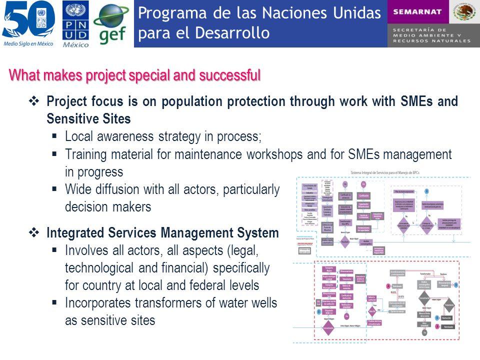 Programa de las Naciones Unidas para el Desarrollo What makes project special and successful Project focus is on population protection through work wi