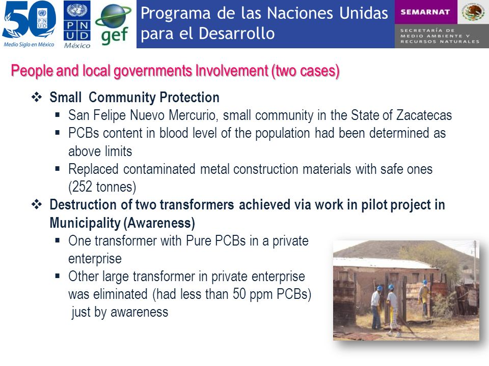 Programa de las Naciones Unidas para el Desarrollo People and local governments Involvement (two cases) Small Community Protection San Felipe Nuevo Me
