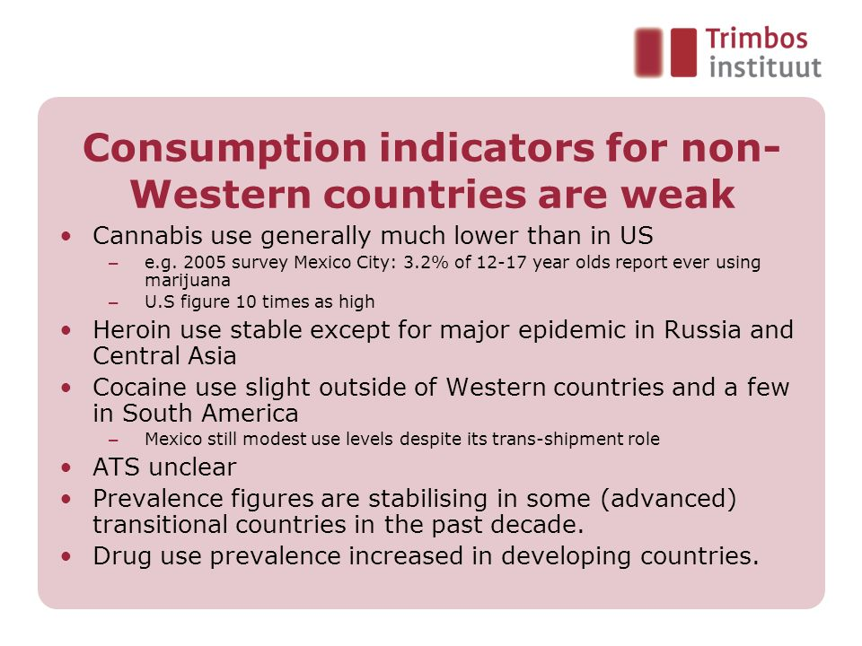 Consumption indicators for non- Western countries are weak Cannabis use generally much lower than in US – e.g. 2005 survey Mexico City: 3.2% of 12-17