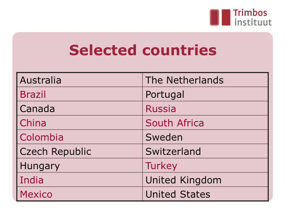 Selected countries AustraliaThe Netherlands BrazilPortugal CanadaRussia ChinaSouth Africa ColombiaSweden Czech RepublicSwitzerland HungaryTurkey India