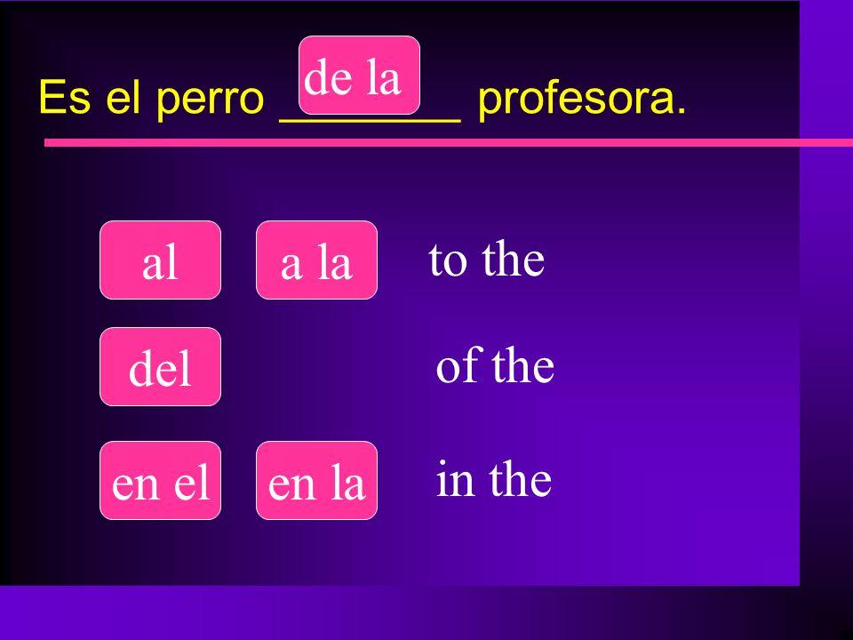 Es el perro _______ profesora. ala la del de la en elen la to the of the in the