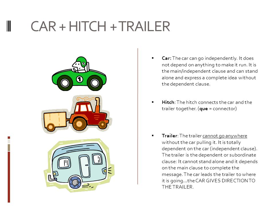 CAR + HITCH + TRAILER Car: The car can go independently.