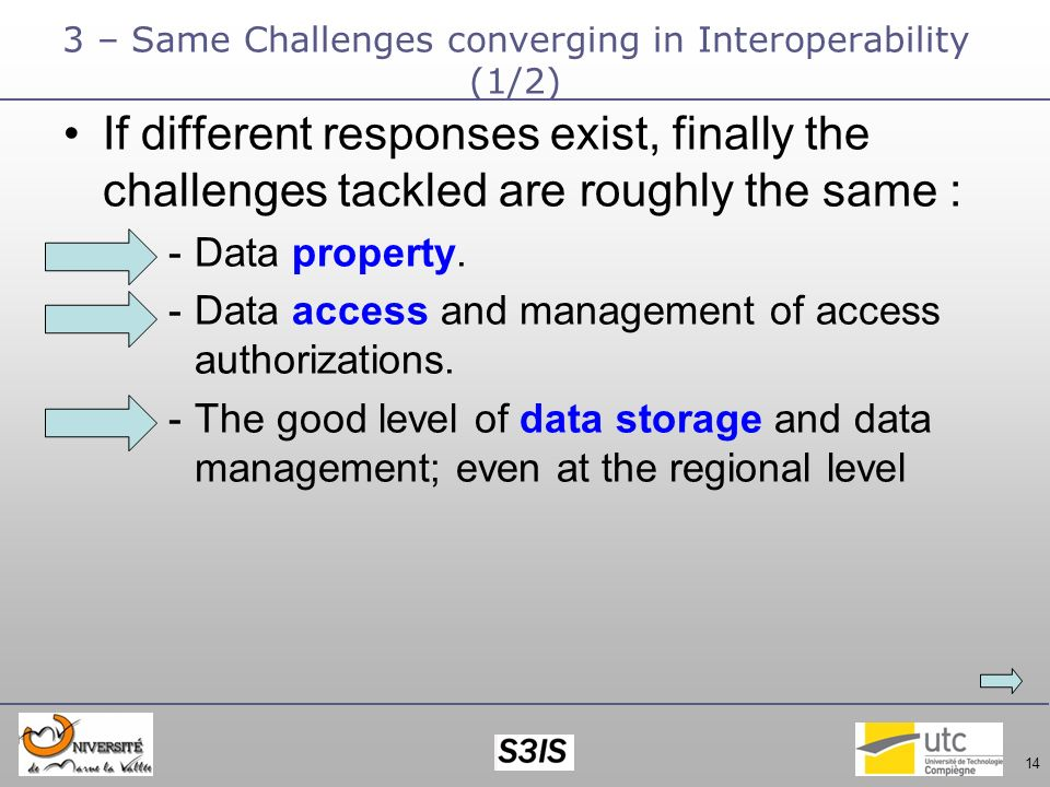 14 3 – Same Challenges converging in Interoperability (1/2) If different responses exist, finally the challenges tackled are roughly the same : -Data property.