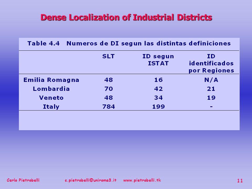 Carlo Pietrobelli c.pietrobelli@uniroma3.it www.pietrobelli.tk 11 Dense Localization of Industrial Districts