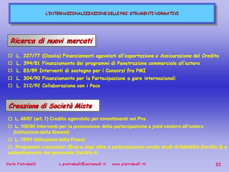 Carlo Pietrobelli c.pietrobelli@uniroma3.it www.pietrobelli.tk 32 LINTERNAZIONALIZZAZIONE DELLE PMI: STRUMENTI NORMATIVI Ricerca di nuovi mercati o L.