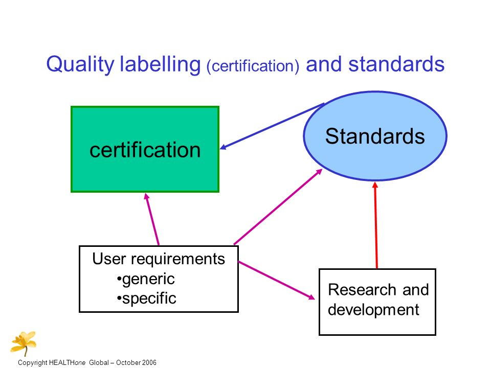 Copyright HEALTHone Global – October 2006 Quality labelling (certification) and standards certification User requirements generic specific Standards Research and development