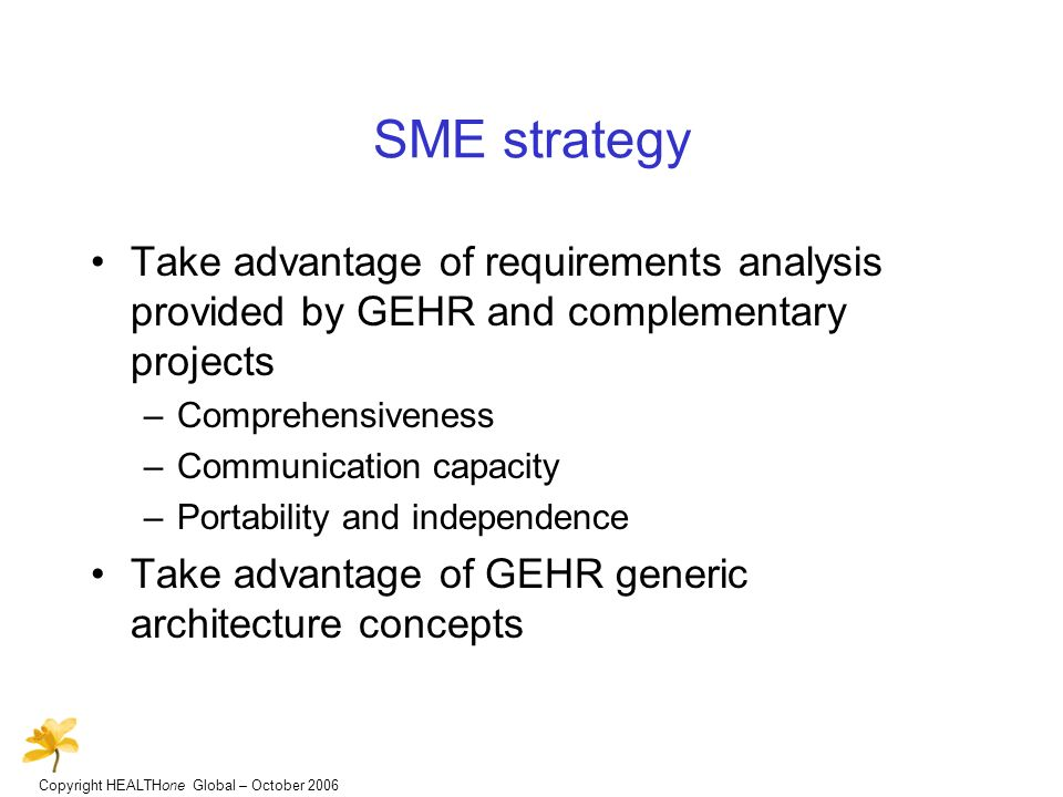 Copyright HEALTHone Global – October 2006 SME strategy Take advantage of requirements analysis provided by GEHR and complementary projects –Comprehensiveness –Communication capacity –Portability and independence Take advantage of GEHR generic architecture concepts