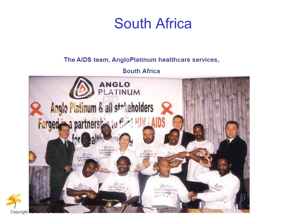 Copyright HEALTHone Global – October 2006 South Africa The AIDS team, AngloPlatinum healthcare services, South Africa