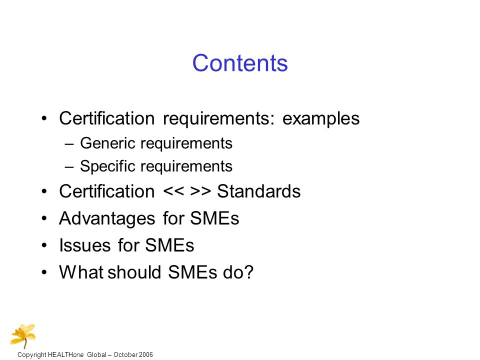 Copyright HEALTHone Global – October 2006 Contents Certification requirements: examples –Generic requirements –Specific requirements Certification > Standards Advantages for SMEs Issues for SMEs What should SMEs do