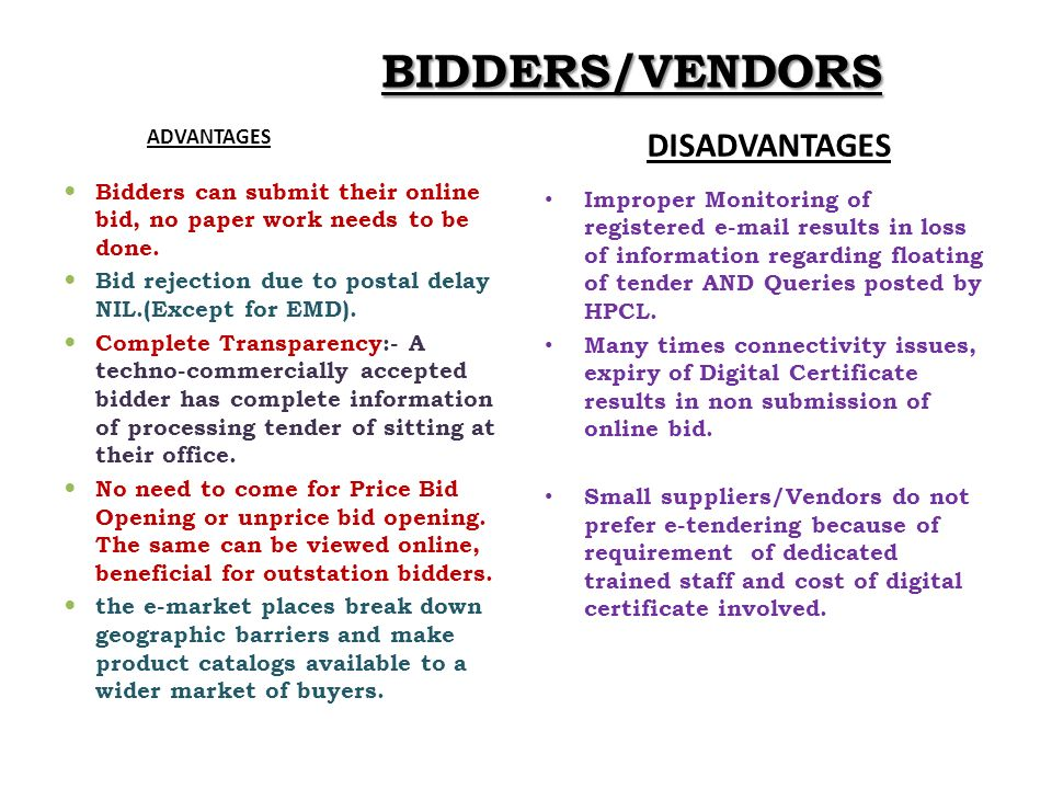 BIDDERS/VENDORS ADVANTAGES DISADVANTAGES Bidders can submit their online bid, no paper work needs to be done. Bid rejection due to postal delay NIL.(E