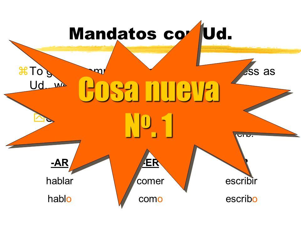 Mandatos negativos con (tú) Do you remember how to give a negative command to someone you address as tú? -AR hablar No hables. -ER comer No comas. -IR