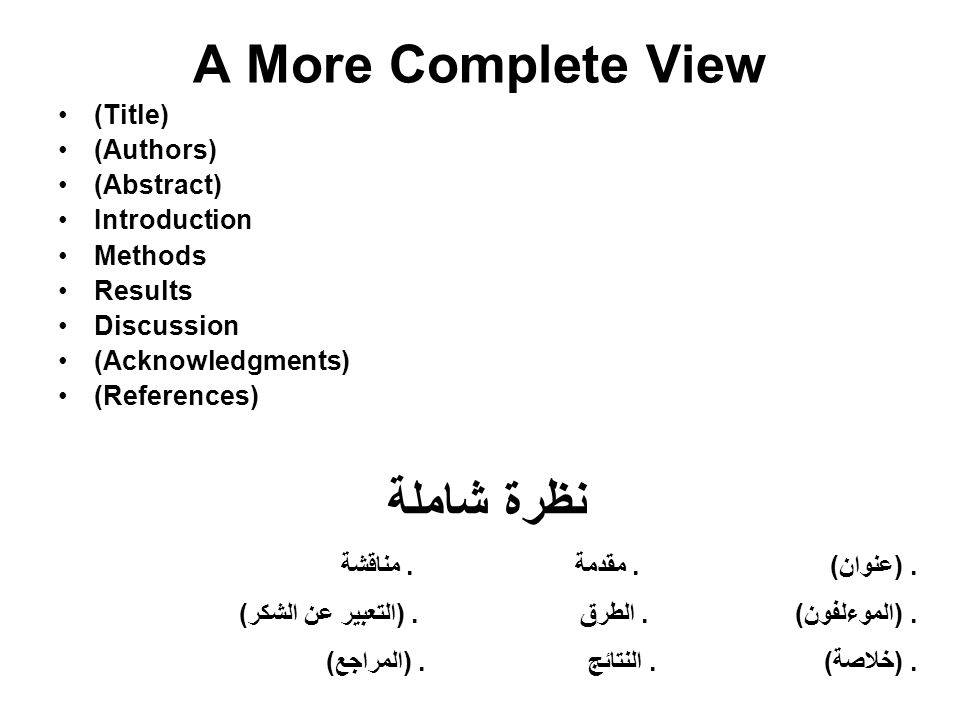 A More Complete View (Title) (Authors) (Abstract) Introduction Methods Results Discussion (Acknowledgments) (References) نظرة شاملة. (عنوان). مقدمة. م