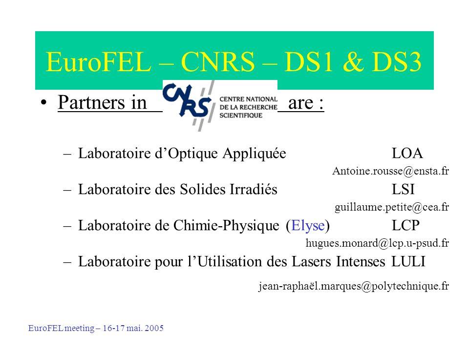 EuroFEL – CNRS – DS1 & DS3 Partners in are : –Laboratoire dOptique Appliquée LOA Antoine.rousse@ensta.fr –Laboratoire des Solides Irradiés LSI guillaume.petite@cea.fr –Laboratoire de Chimie-Physique (Elyse) LCP hugues.monard@lcp.u-psud.fr –Laboratoire pour lUtilisation des Lasers Intenses LULI jean-raphaël.marques@polytechnique.fr EuroFEL meeting – 16-17 mai.