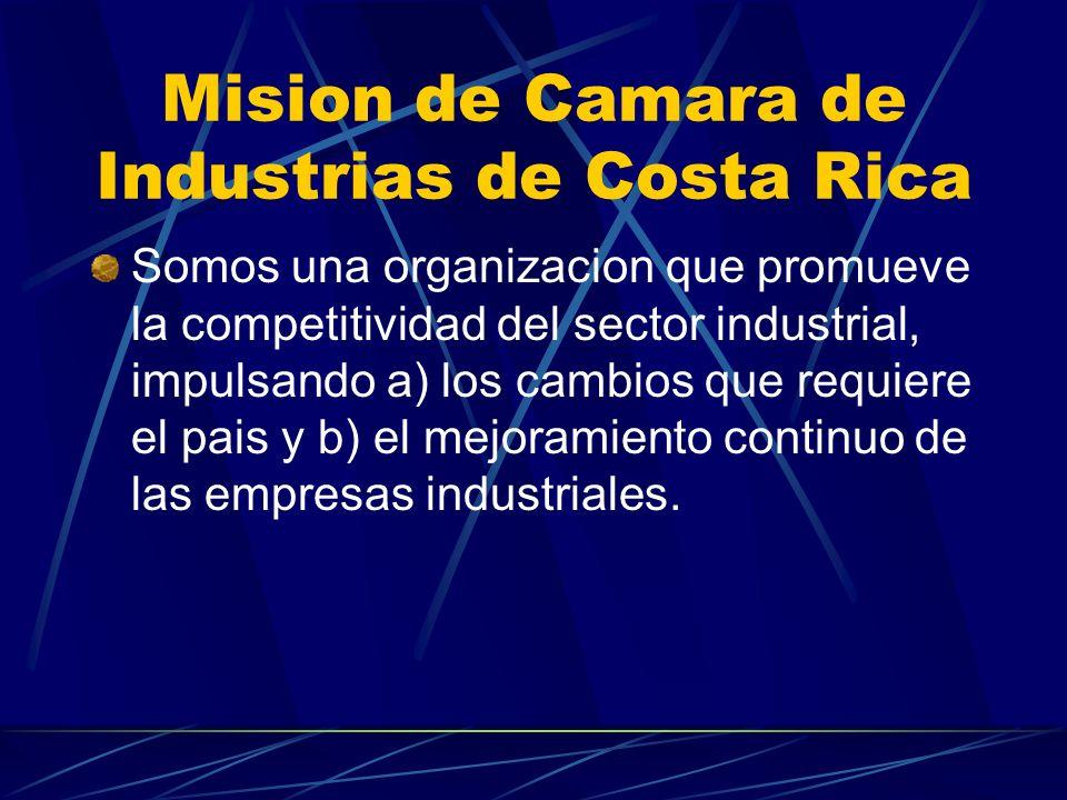 Mision de Camara de Industrias de Costa Rica Somos una organizacion que promueve la competitividad del sector industrial, impulsando a) los cambios qu