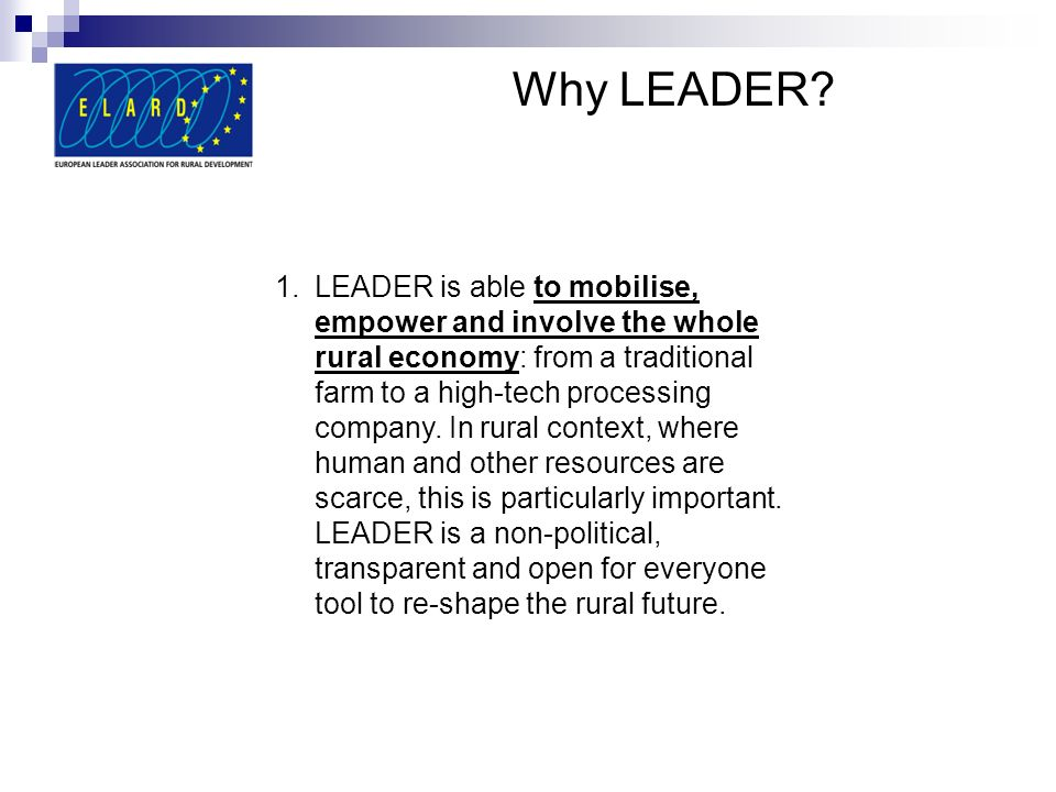 Why LEADER.