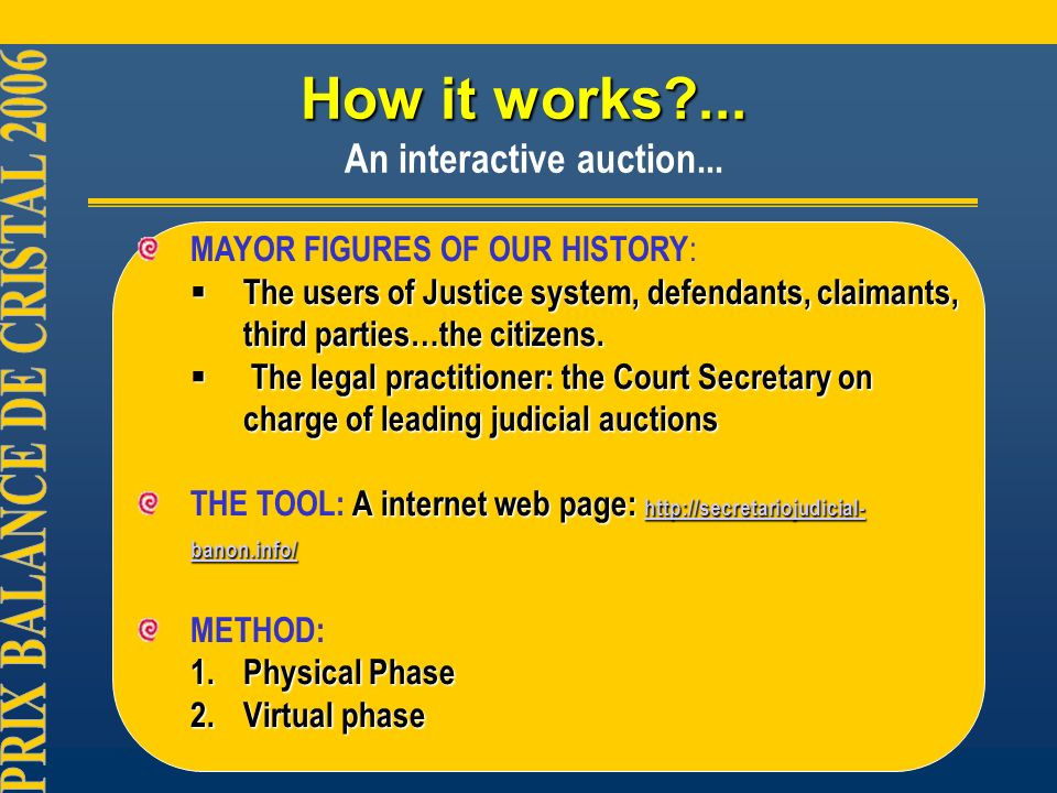 How it works ... How it works ... An interactive auction...