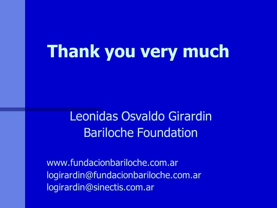 Thank you very much Leonidas Osvaldo Girardin Bariloche Foundation www.fundacionbariloche.com.ar logirardin@fundacionbariloche.com.ar logirardin@sinec
