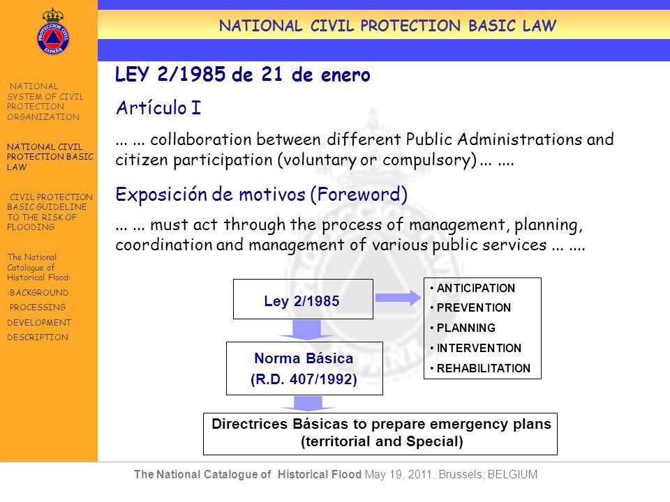 LEY 2/1985 de 21 de enero Artículo I...... collaboration between different Public Administrations and citizen participation (voluntary or compulsory).