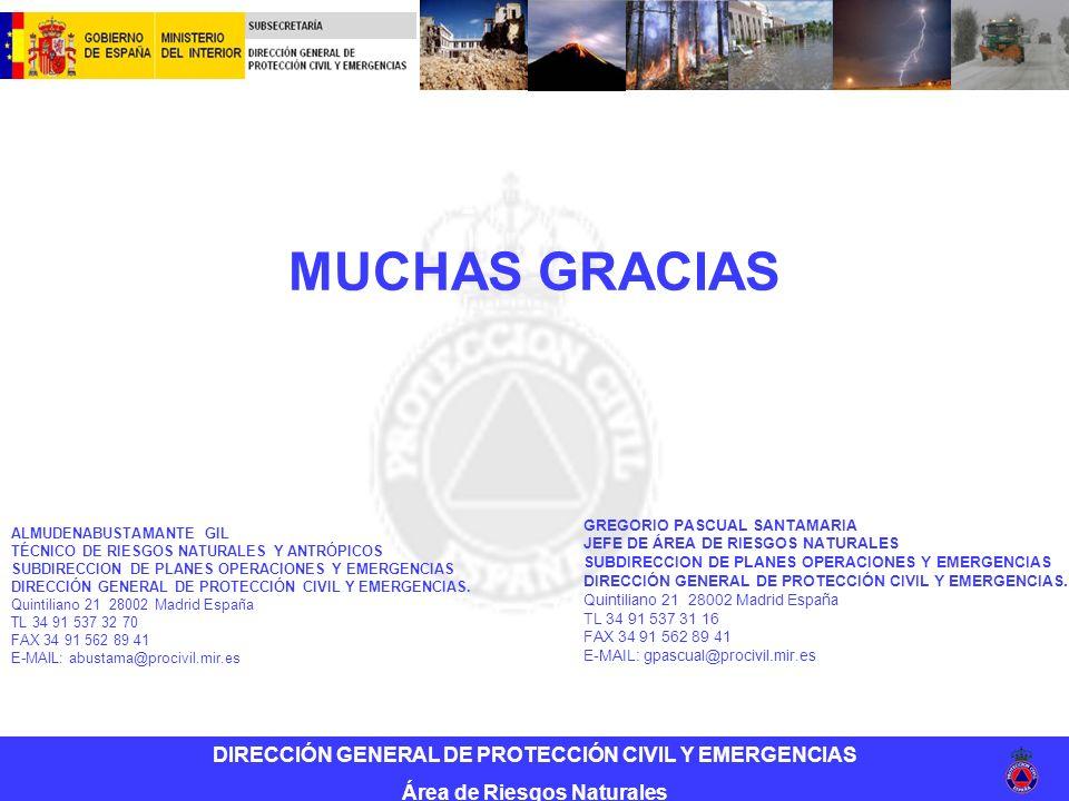 DIRECCIÓN GENERAL DE PROTECCIÓN CIVIL Y EMERGENCIAS Área de Riesgos Naturales MUCHAS GRACIAS ALMUDENABUSTAMANTE GIL TÉCNICO DE RIESGOS NATURALES Y ANTRÓPICOS SUBDIRECCION DE PLANES OPERACIONES Y EMERGENCIAS DIRECCIÓN GENERAL DE PROTECCIÓN CIVIL Y EMERGENCIAS.
